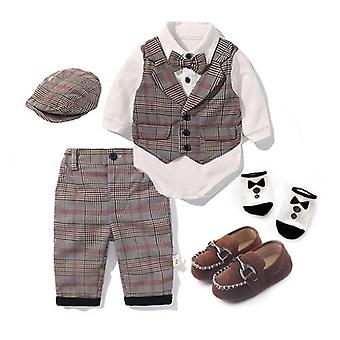 Toddler Clothing Set, Spring Baby Cotton Plaid Kid Clothes Suits, Birthday