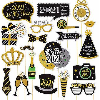 Gerui 20pcs 2021 New Years Eve Photo Booth Props Funny Happy New Year Photobooth Props for New Years