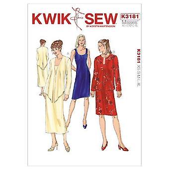 Kwik Sew Sewing Pattern 3181 Misses Dress Jackets Size XS-S-M-L-XL