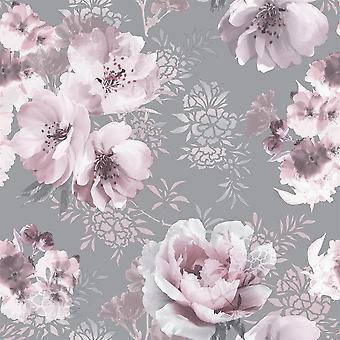 Fond d'écran floral floral dramatique rose gris