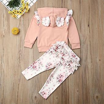 Baby Flowers 3d Ear Hoodies, Top Sweatshirt Ruffle Pants