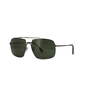 Tom Ford Aiden-02 TF585 12N Skinnende Mørk Ruthenium / Grønne Briller