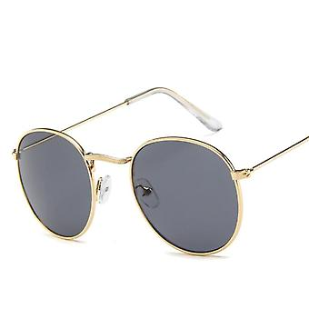 Women Small Gold Black Vintage Retro Sun Glasses