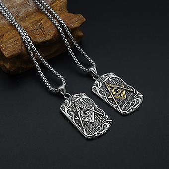 Master mason tag motif masonic necklace [gold & silver]