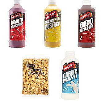 Crucials Kit with 5 Products, Crucials Ketchup, Garlic and Mayo, BBQ, Mustard 500ml, Crawford's Cheese Savouries 300G