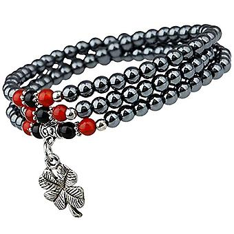 KYEYGWO Chakra Chanceux Multi-gold four-leaf clover, bracelet for women and men, elastic unisex necklace in round Buddhist pearl Ref. 0715444118609