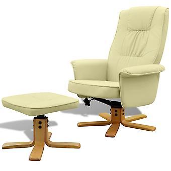 vidaXL fauteuil avec tabouret de pied en simili-faux