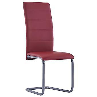 vidaXL gabinete en voladizo 2 piezas de cuero rojo