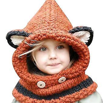 Orange Winter warme Ohrenschützer Hut Schal kreative Fuchs Wolle gestrickte Schal Kapuzenschal Geschenke für Jungen und Mädchen im Alter von 3-12 x4164