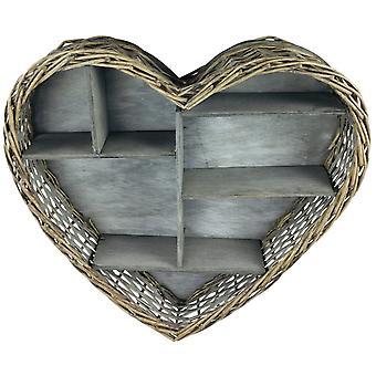 Unité d'étagère de coeur en osier 52cm