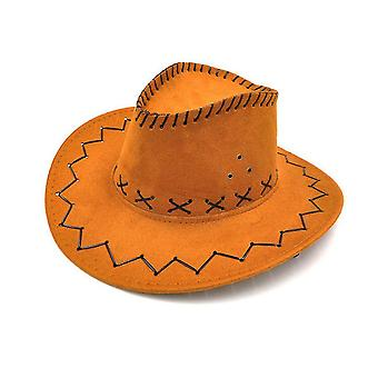 Unisex Cowgirl Cowboy Hut Kind Wild West Fancy Party Kostüme Casual Sun (Orange)