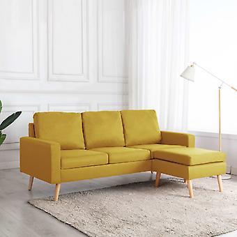 vidaXL 3-Sitzer-Sofa mit Hocker Gelb Stoff