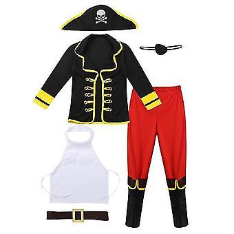 Kids Boys Pirate Outfit Langærmet Outsuit Toppe med Eye Patch Hat Bukser Bælte Størrelse M