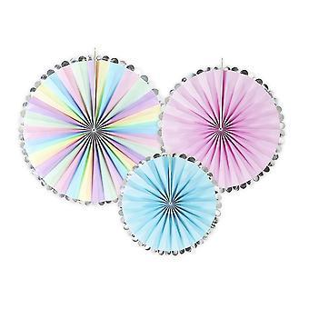 3 Unicorn Wish Pastel & Metallic Hanging Tissue Fan Party Decorations