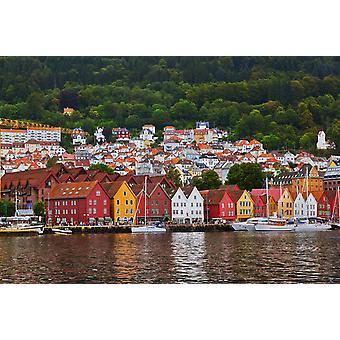 Mural de Papel de Parede Bryggen Street em Bergen, Noruega