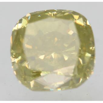 Cert 0.56 Carat Fancy Intense Jaune SI1 Coussin Diamant Naturel 4.48x4.42mm 2VG