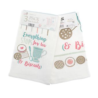 Country Club Tea and Biscuits Set of 3 Tea Towels