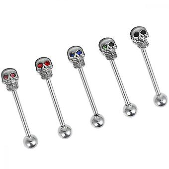 5 Pcs Stainless Steel Skull Diamonds Tongue Rings Barbell Piercing Tongue Bars Body Percing Jewelry Mixed Color