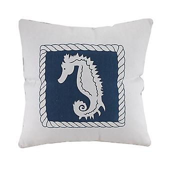 White And Blue Seahorse Decorative Canvas Throw Pillow