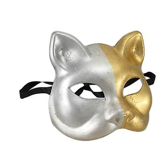 Gold and Silver Finish Half Face Carnivale Gatto Cat Costume Mask
