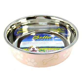 """Loving Pets Stainless Steel & Light Pink Dish with Rubber Base - Medium - 6.75"""" Diameter"""