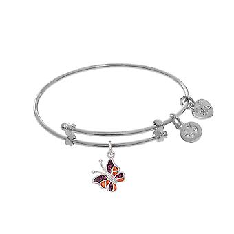 Enamel Butterfly Charm Adjustable Bangle Girls Bracelet