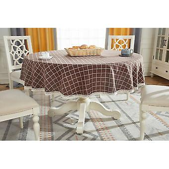 Tablecloths 90cm round tablecloth pure cotton linen tablecloth checkered christmas tablecloth brown