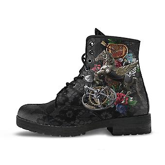 Combat boots - steampunk inspired design #11 with black lace print | women's boots, handmade boots, custom shoes