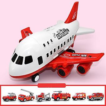 Grand enfant Avion Jouet Modèle Rouge Avec 6pcs Alliage Camion de Pompier