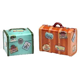 Road Trip Retro Look Set of Luggage Salt and Pepper Shakers Set