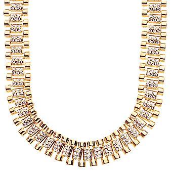 Iskallt ut hip hop bling halsband - CZ länk 15mm guld