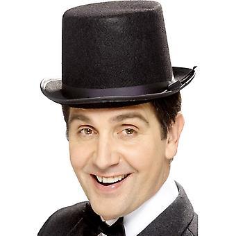 Hoge hoed zwart voelde met zwart riem
