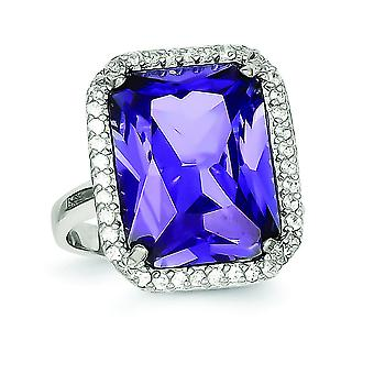 925 Sterling Silver Polished Retangle Clear e Purple CZ Cubic Zirconia Simulated Diamond Ring Jewely Gifts for Women