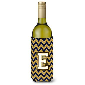 Letter E Chevron Navy Blue and Gold Wine Bottle Beverage Insulator Hugger
