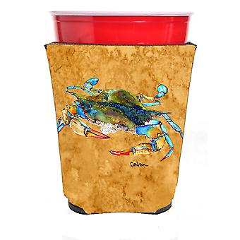 Carolines Treasures  8655RSC Crab on gold Red Solo Cup Beverage Insulator Hugger