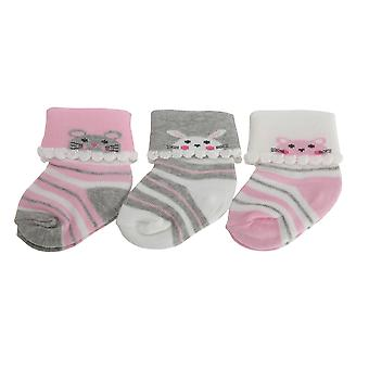 Nursery Time Baby Girls Animal Design Socks (Pack Of 3)