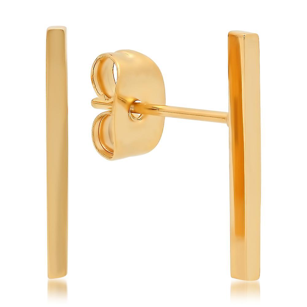 Ladies 18K Gold Plated Stainless Steel Bar Stud Earrings