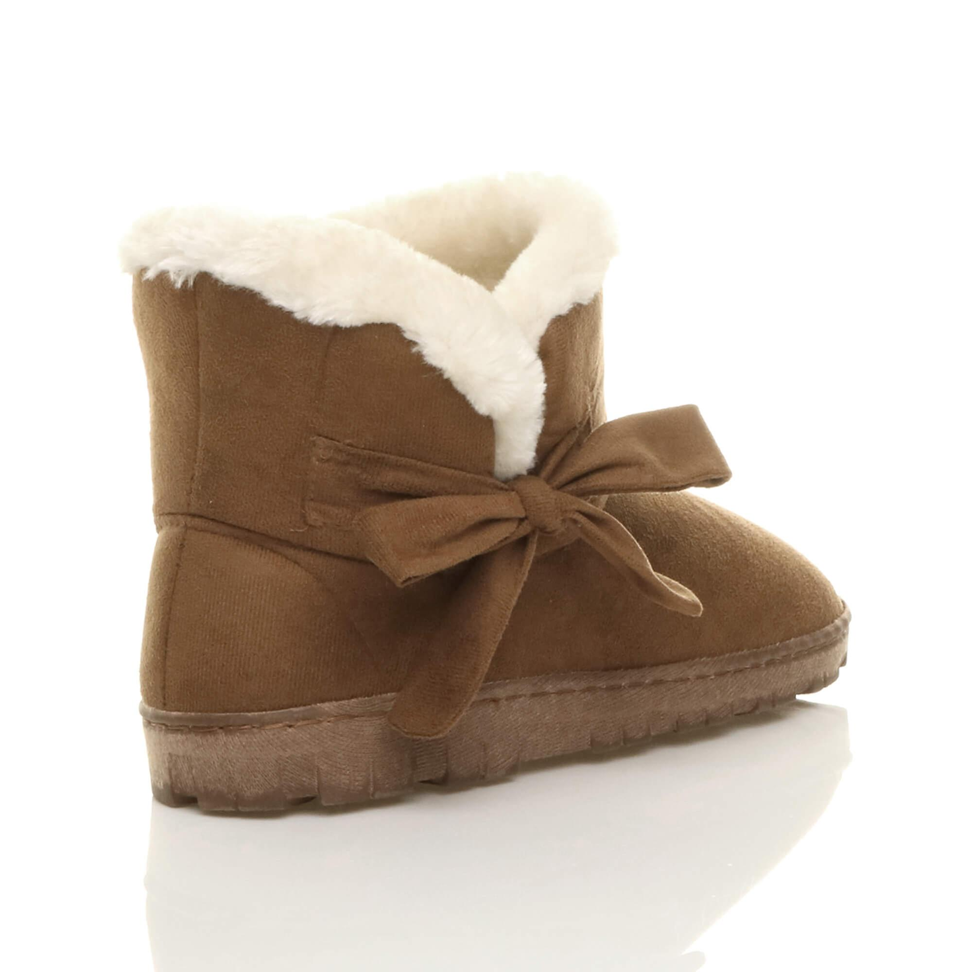 Ajvani Womens Flat Bow Pull On Cosy Faux Sheepskin Fur Lined Ankle Boots Booties Slippers