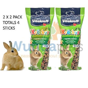 Vitakraft Rabbit Stick Veg & Beetroot Cage Hutch Treat 2x2 pack