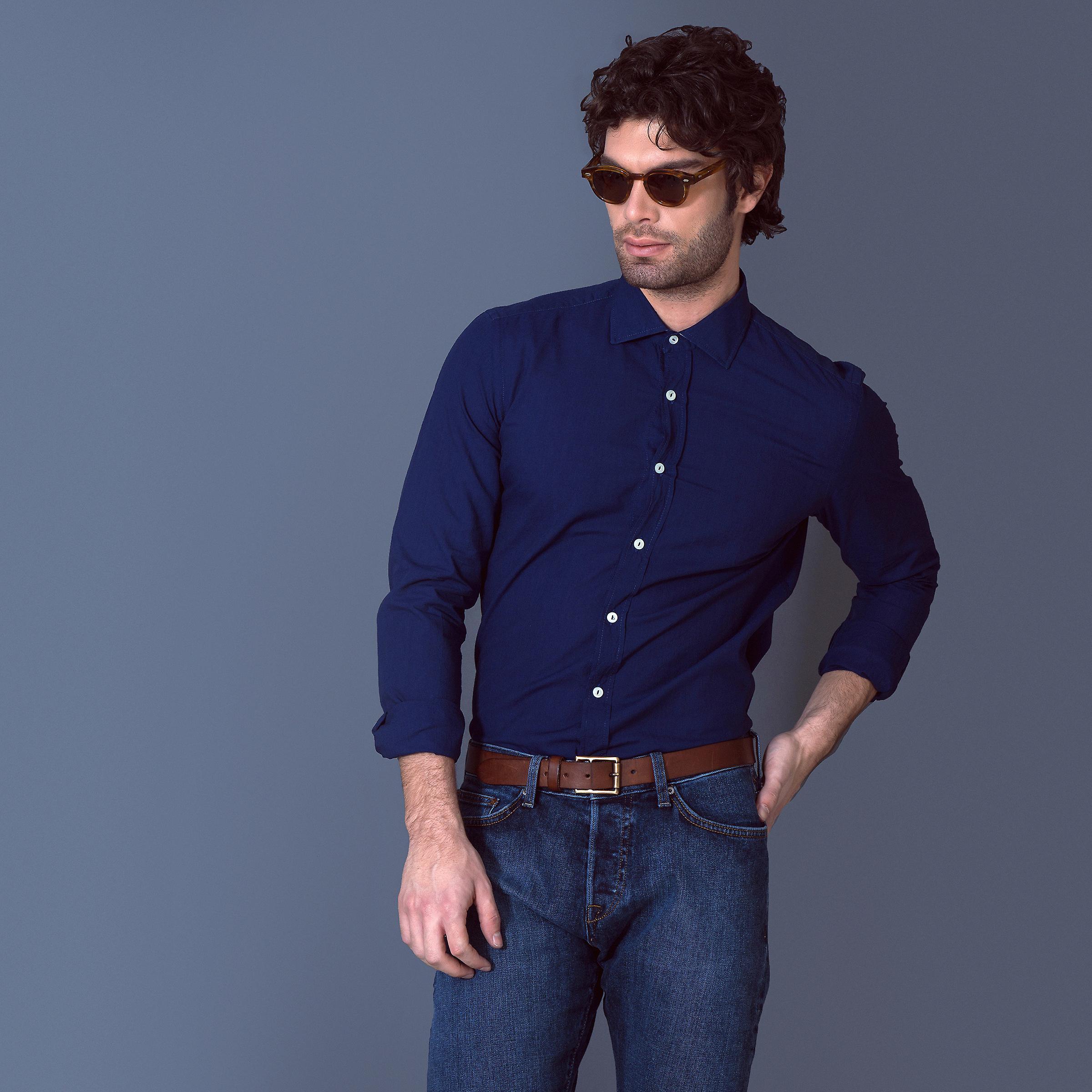 Fabio Giovanni Albergo Shirt - Finest Italian Navy Cotton Mens Casual Shirt