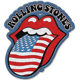 Rolling Stones Stars & Stripes Tongue Shaped Sew On / Iron On Cloth Patch