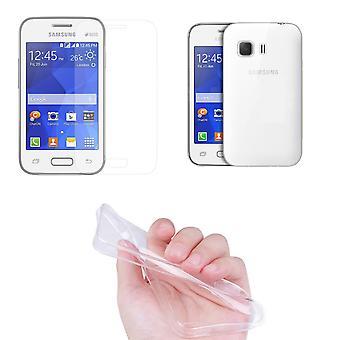 Samsung Young 2 Handy Hülle Schutz Tasche Ultra Dünn nur 0,3 mm Case Cover Schutzhülle Schale + Panzer Glas Echtglas Display Schutz