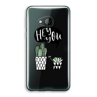 HTC U Play transparant Case (Soft) - Hey u cactus