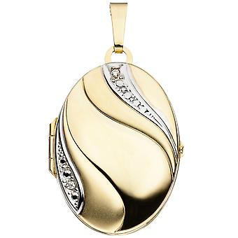 Medaillon oval Anhänger 333 Gold Gelbgold teilrhodiniert teilmattiert 2 Zirkonia Goldmedaillon