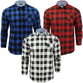 Brave Soul Mens Jack Checked Check Long Sleeve Cotton Lumberjack Shirt Top