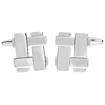 David Van Hagen glanzende Cut Out geweven Square Manchetknopen - zilver