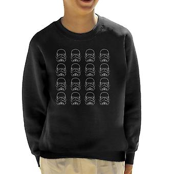 Original Stormtrooper Line Art Helmets Kid's Sweatshirt