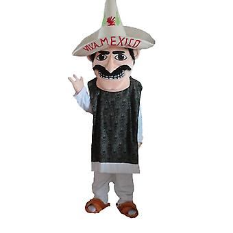 SPOTSOUND of mustachioed Mexican mascot, with a sombrero