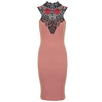 Ladies Sleeveless Tie Lace Crochet Neck Floral Embroidery Crepe Bodycon Dress