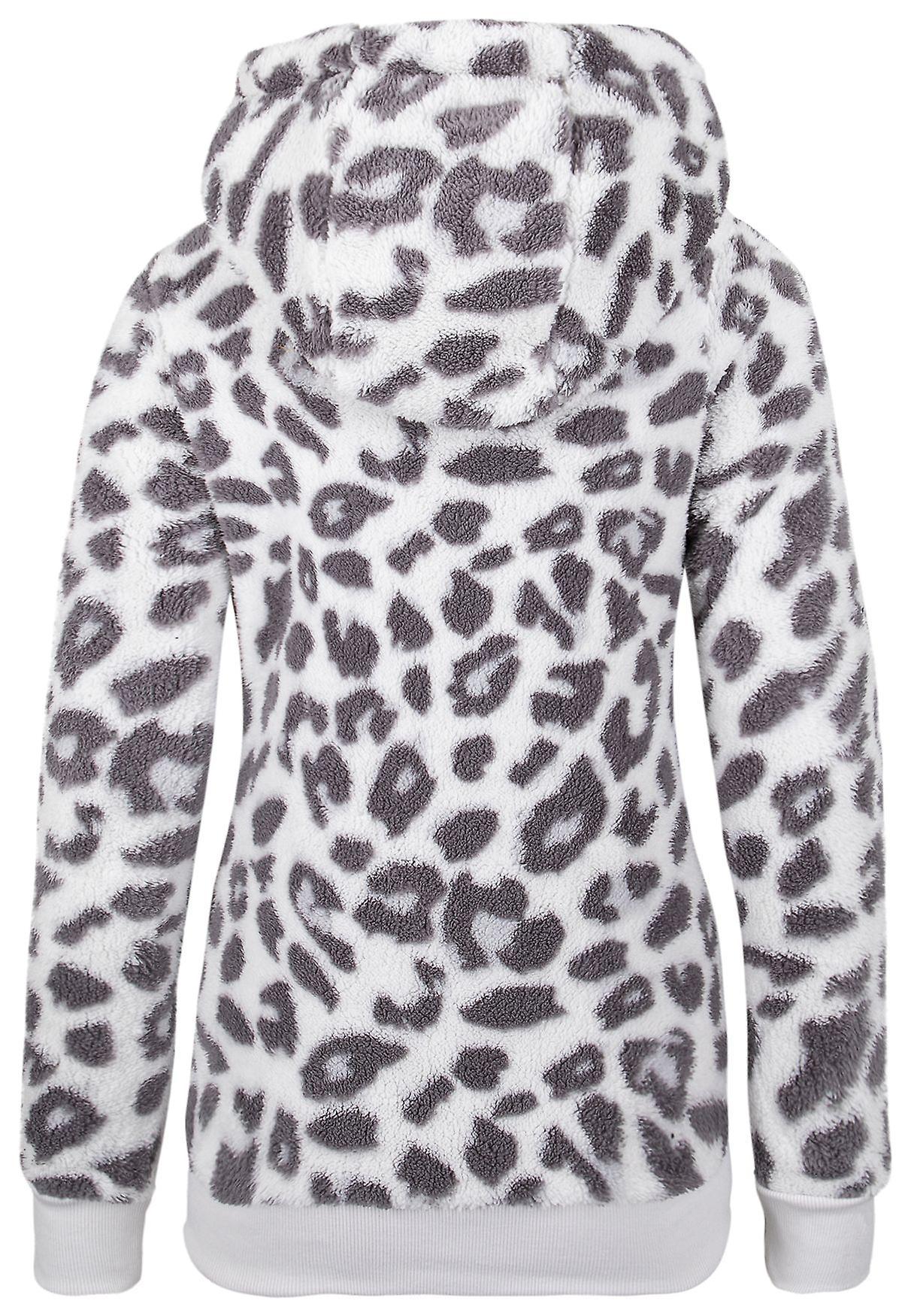 Sublevel Womens Fleece Hoodie Leopard Sweater Pullover Plush Jumper Longsleeve